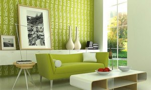 Фисташковый цвет в оформлении помещения